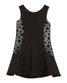 Sleeveless Neoprene Fit-and-Flare Dress, Black/Cream, Size 2-6