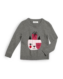 Holiday Cat Pullover Sweater, Gray, Size 4-7