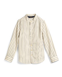 Dobby-Stripe Cotton Shirt, Cream, Size 2T-6X