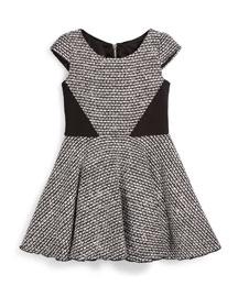 Tweed Cap-Sleeve Swing Dress, Black/White, Size 7-14