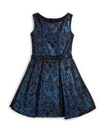 Sleeveless Damask A-Line Dress, Blue, Size 7-14