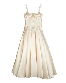 Long Pleated Gown w/ Bow, Cream, Size 4-6X