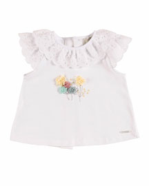 Eyelet-Trim Jersey Top, White, Size 12M-3