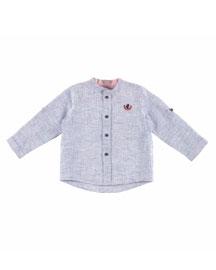 Long-Sleeve Linen Button-Front Shirt, Blue, Size 12M-3