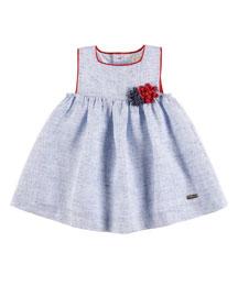 Sleeveless Linen A-Line Dress, Blue, Size 12M-3
