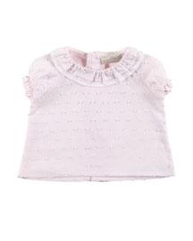 Cap-Sleeve Ruffle Boucle Blouse, Pink, Size Newborn-6 Months