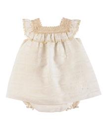 Sleeveless Crochet-Trim Linen Shift Dress, Ivory, Size 12M-2