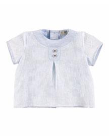 Short-Sleeve Striped Linen Shirt, White/Blue, Size Newborn-6 Months