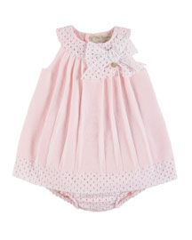 Sleeveless Pleated Eyelet-Trim Shift Dress w/ Bloomers, Pink, Size 3-18 Months