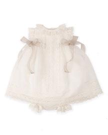 Sleeveless Lace-Trim Chiffon Dress w/ Bloomers, Cream, Size 6-18 Months