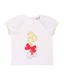 Cap-Sleeve Elephant Jersey Tee, White, Size 6M-2