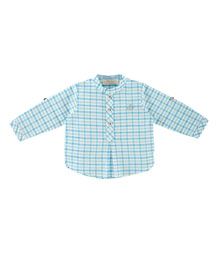 Long-Sleeve Plaid Henley Shirt, Teal, Size 6M-3