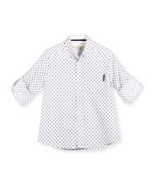 Diamond-Print Poplin Shirt, White/Navy, Size 4-10