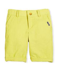 Linen-Blend Bermuda Shorts, Yellow, Size 4-10