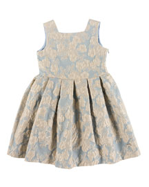 Sleeveless Pleated Floral Jacquard Dress, Gray/Blue, Size 2-6