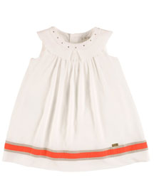 Sleeveless Collared Linen-Trim Shift Dress, White, Size 2-10
