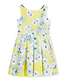 Sleeveless Floral Pleated Dress, Yellow/Blue, Size 2-12