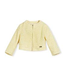 Tweed Cardigan Jacket, Yellow, Size 4-12