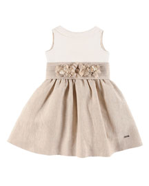 Sleeveless Belted Linen Combo Dress, White/Tan, Size 4-12