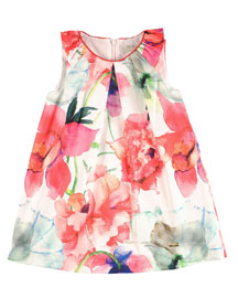 Sleeveless Floral Shift Dress, Multicolor, Size 4-10