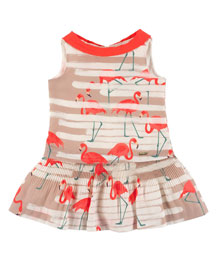 Sleeveless Collared Flamingo Dress, Multicolor, Size 4-10
