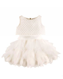 Sleeveless Tie-Back Crepe & Tulle Dress, White, Size 6-12