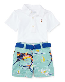 Oxford Mesh Polo Shirt w/ Marlin Shorts, White, Size 9-24 Months