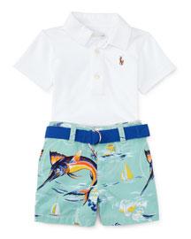 Oxford Mesh Polo Shirt w/ Marlin Shorts, White, Size 9-24 Months