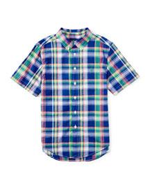 Short-Sleeve Madras Plaid Shirt, Blue/Green, Size 5-7