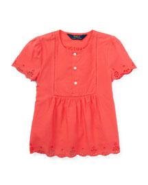 Short-Sleeve Cotton Batiste Top, Orange, Size 2T-4T