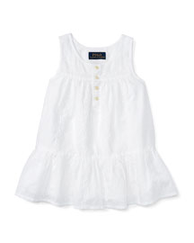 Embroidered Cotton Voile Tank, White, Size 2T-4T