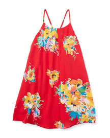 Floral Voile Racerback Shift Dress, Red/Yellow, Size 2T-4T