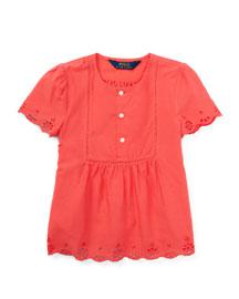 Short-Sleeve Cotton Batiste Top, Orange, Size 5-6X