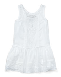Smocked Embroidered Cotton Voile Dress, White, Size 5-6X