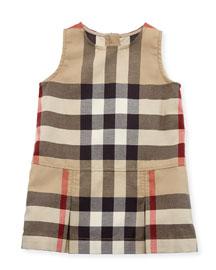 Dawny Sleeveless Pleated Check Dress, New Classic, Size 6M-3