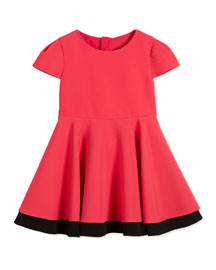 Cap-Sleeve Italian Cady Fit-and-Flare Dress, Rose, Size 8-14