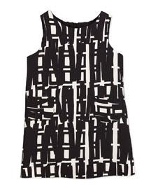 Sleeveless Linear-Print Shift Dress, White/Black, Size 4-7