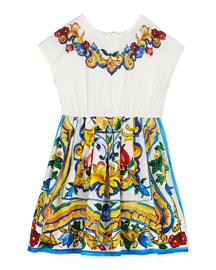 Floral Majolica Combo Dress, White, Size 2-6
