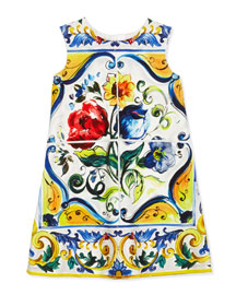 Sleeveless Floral Majolica Shift Dress, White, Size 8-12