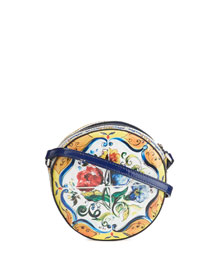 Floral Majolica Leather Crossbody Bag, Multicolor