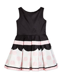 Sweet Treat Sleeveless Pleated Fit-and-Flare Dress, Pink/Black, Size 7-14