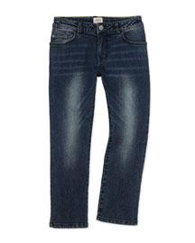 Classic Slim-Fit Denim Jeans, Blue Navy, Size 4-12