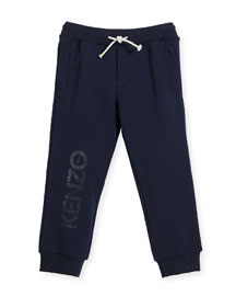 Drawstring Logo Track Pants, Navy, Size 4-6