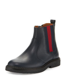 Joshua Leather Chelsea Boot, Blue, Youth