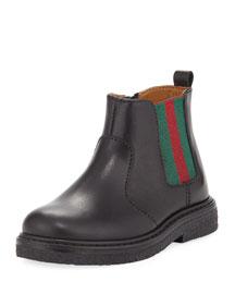 Joshua Leather Chelsea Boot, Black, Toddler
