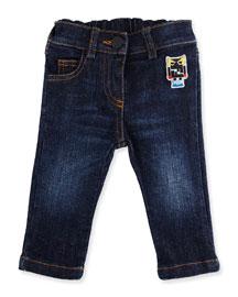 Stretch Denim Monster Jeans, Blue, Size 12-24 Months
