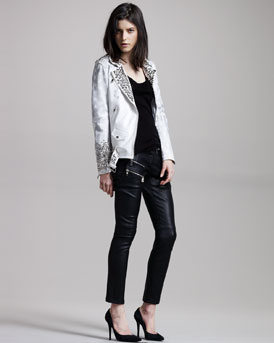 Balmain Stars and Stripes Leather Jacket, Burnout Tank & Zip-Detail Leather Pants