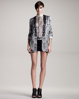 Pierre Balmain Reversible Paisley-Print Jacket, Sheer Blouse, Stretch-Denim Skirt & Skinny Belt