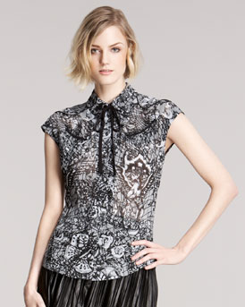 McQ Alexander McQueen Rockabilly Printed Top & Pleated Leather Skirt