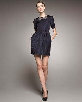 Jason Wu Ricki Bead-Neck Faille Dress